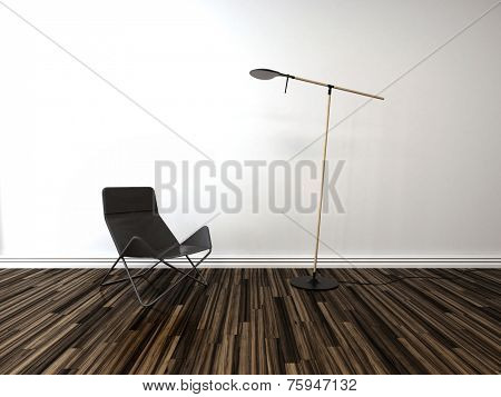 3D Rendering of Single folding chair in a room interior with a freestanding modern lamp against a white painted bare brick wall over a wooden parquet floor