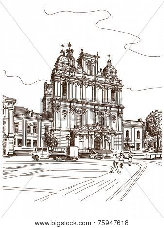 Vector drawing of central street of old european town, Vilnius, Lithuania