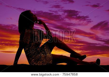 Silhouette Of A Woman Sit With Hand On Chin Knee Up
