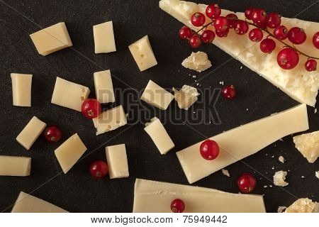 Pieces Of Cheese And Redcurrant