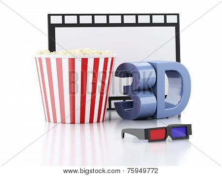 Popcorn, Film Reel And 3D Glasses. 3D Illustration
