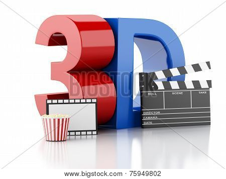 Cinema Clapper, Popcorn, Drink And Film Reel. 3D Illustration