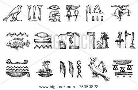 Ancient Egyptian hieroglyphs doodle set