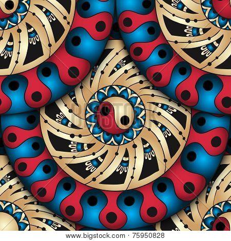 Seamless geometric pattern in fish scale design.