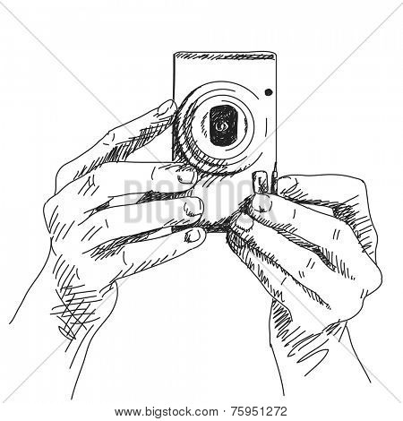Sketch of hands holding compact photo camera, Hand drawn illustration