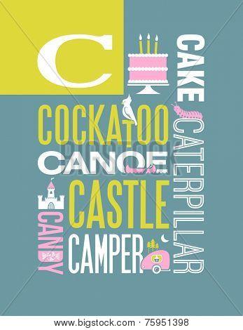 Letter C words typography illustration alphabet poster design