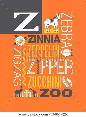 Letter Z words typography illustration alphabet poster design