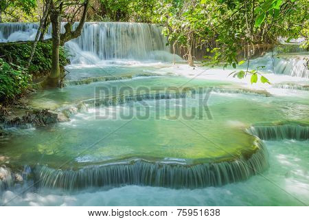 Kuang Si Waterfalls In Luang Prabang, Laos.