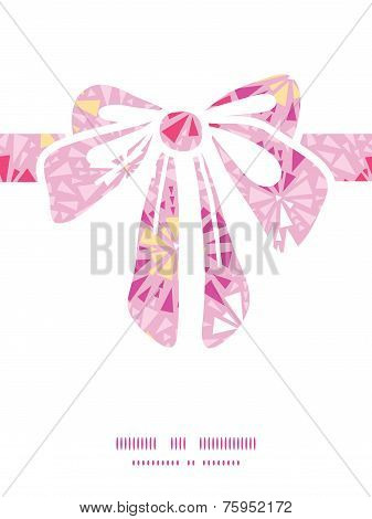 Vector pink abstract triangles gift bow silhouette pattern frame