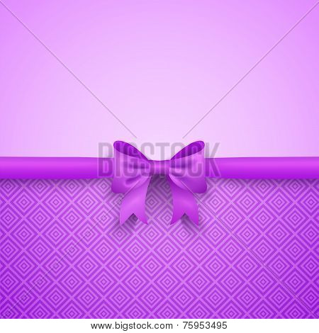Romantic vector purple background with cute bow and pattern