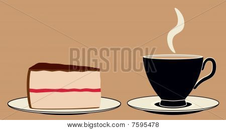 Cup of Coffee and Slice of Cake