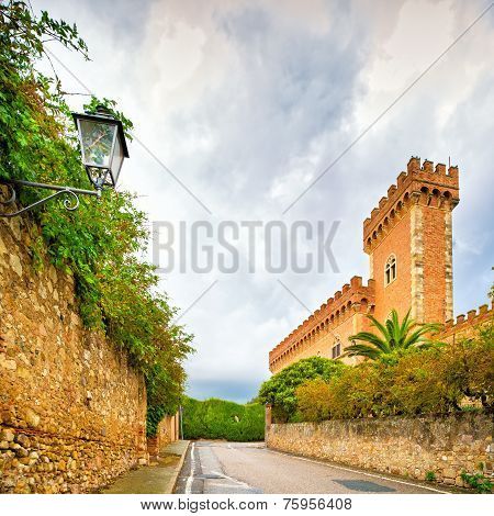 Bolgheri Medieval Village Entrance And Exterior Walls And Tower. Maremma, Tuscany, Italy