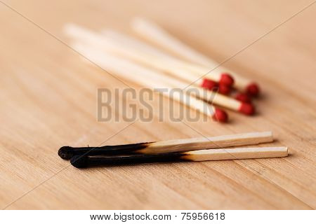 Matchsticks on the table