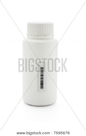 Plasitc Barcode Sticker On Medicine Bottle