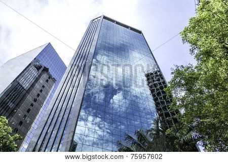 SAO PAULO, BRAZIL - October 13: Buildings in Paulista Avenue on October 13, 2013, in Sao Paulo, Brazil. Paulista is one of the most important avenues in Sao Paulo with 2.8 kilometer of thoroughfare.