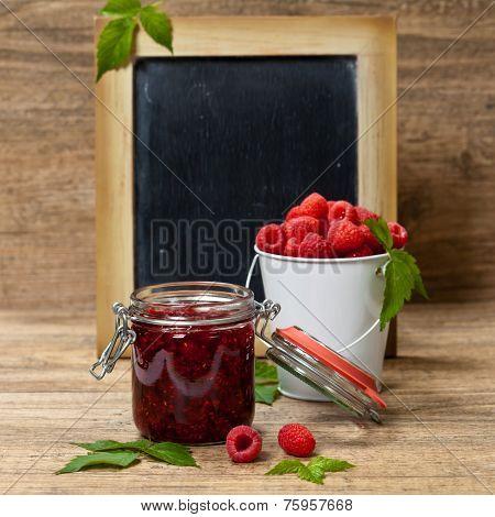 Raspberries jam.