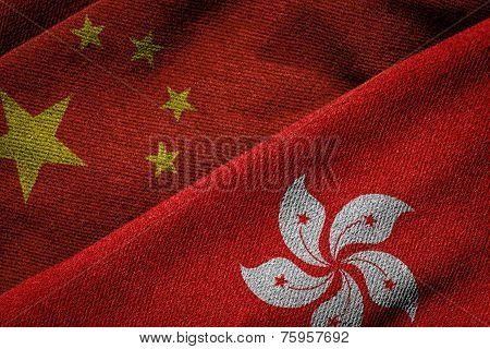 Flags Of China And Hong Kong On Grunge Texture