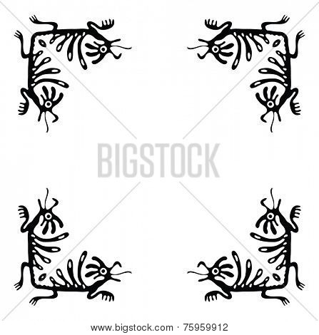 Black corners elements with dragons or lizards, vector illustration