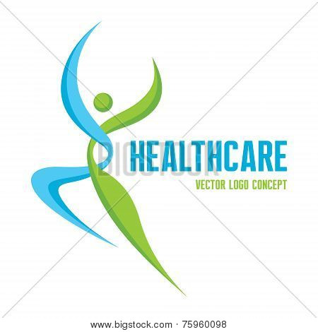 Healthcare - vector logo concept. Abstract man illustration. Human character. Vector logo template.