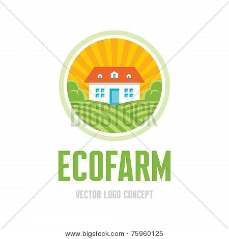Ecofarm - vector logo concept. Organic product farm illustration. Ecology product emblem. Vector log