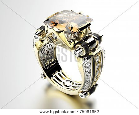 Engagement Ring with Cognac Diamond on white. Jewelry background