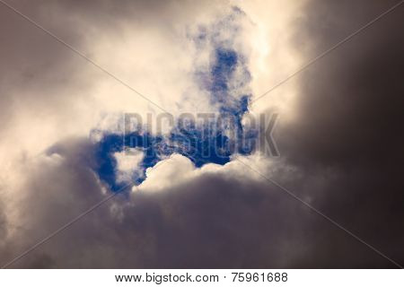 Dark Stormy Clouds Covering The Sky As Nature Background.