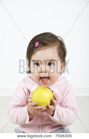 Cheerful Baby Ready To Bite An Apple