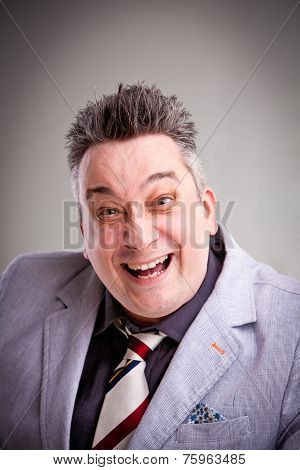 Crazy Businessman Boss Laughs