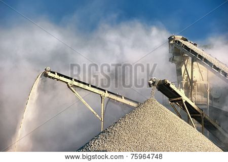 Smog and dirty dust air pollution industrial background on outdoor rock crushing and digging plant factory
