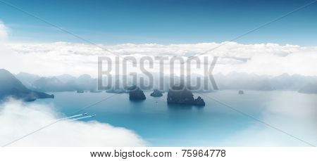 Aerial panoramic view of Halong Bay coast near Hanoi, Vietnam. Scenic landscape of popular tourist travel destination in Asia