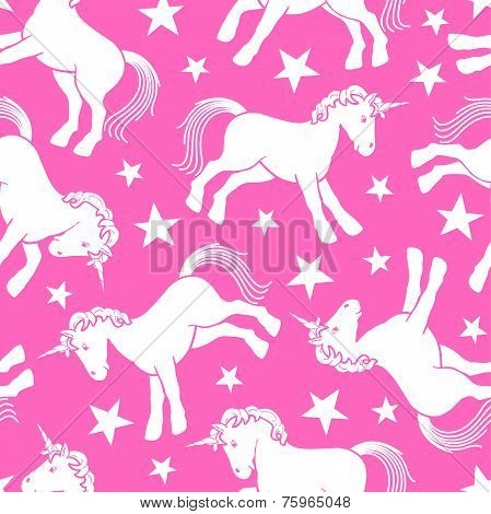 Cute Unicorn Seamless Pattern With Stars