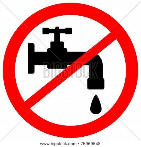 No Water Tap Sign