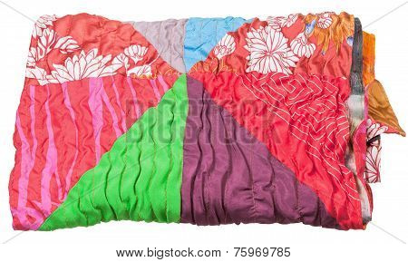 Rolled Patchwork Scarf Isolated On White