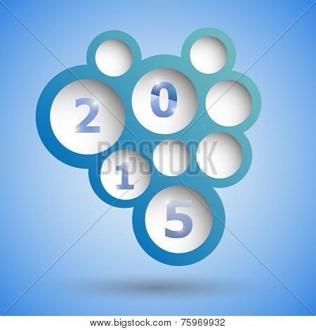 2015 With Abstract Blue Speech Bubble Background