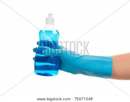 Blue detergent in hand on white background