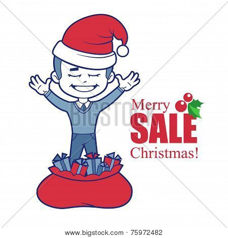 Promotional banner with Santa Claus boy and bag of gifts.