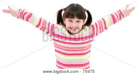 Seven Year Old Girl Striped Sweater Over White