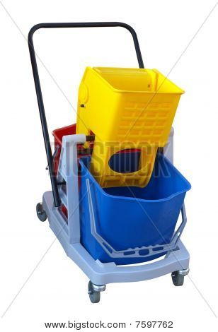Three Plastic Buckets On A Cleaners Trolley