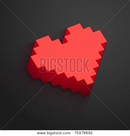 Pixel Heart Button Vector For Valentine's Day Designs. Online Dating, Distant Relationship And Love