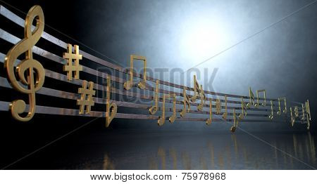 Gold Music Notes On Wavy Lines