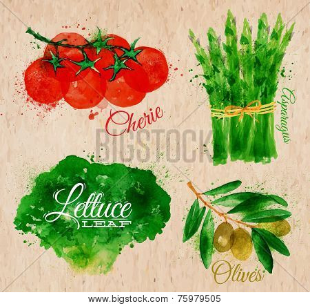 Vegetables watercolor lettuce, cherry tomatoes, asparagus, olives on kraft paper