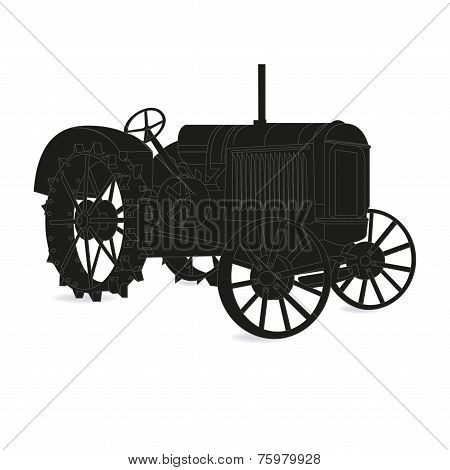 The Silhouette Of The Old Tractor Vector