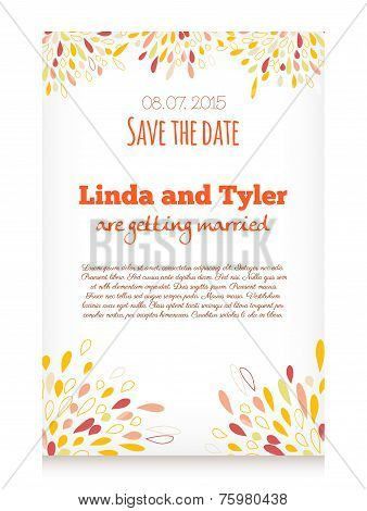 Vector Invitation Card With Abstract Splashes Decoration . Save The Date