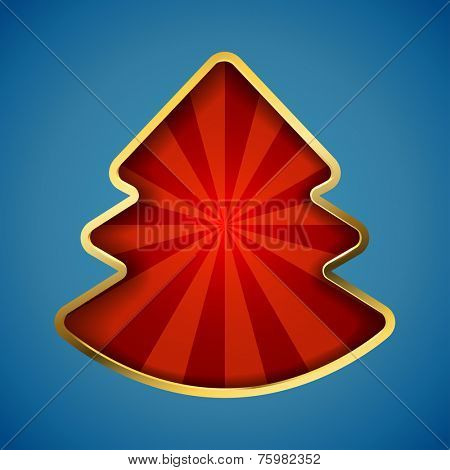 Abstract Christmas tree card with recessed red rays copy space.