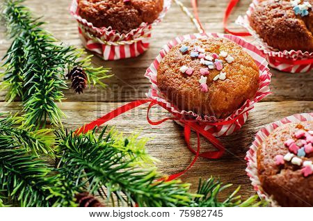 Muffins With Cinnamon And Colorful Topping