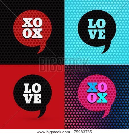 Set of 4 valentines day illustrations and typography elements. Backdrop patterns are seamless. I lov