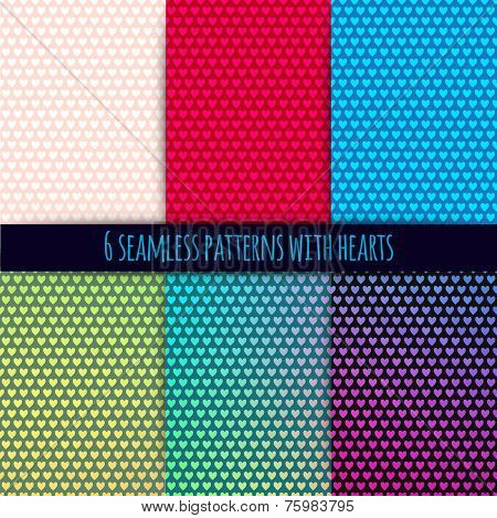 6 vector seamless patterns with hearts (easy tiling). Can be used for printing onto fabric and paper