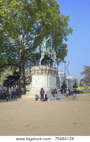 People Around The Statue Of Charlemagne