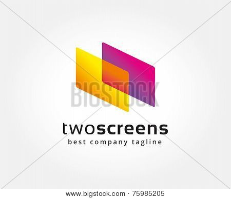 Abstract colored circles vector logo icon concept. Logotype template for branding and corporate desi