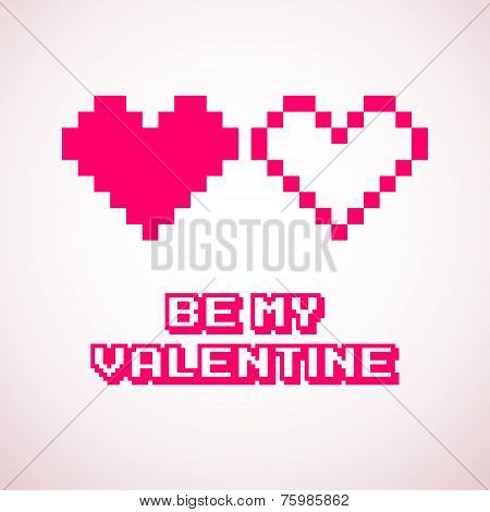 Vector Pixel Hearts For Valentine's Day Cards Designs